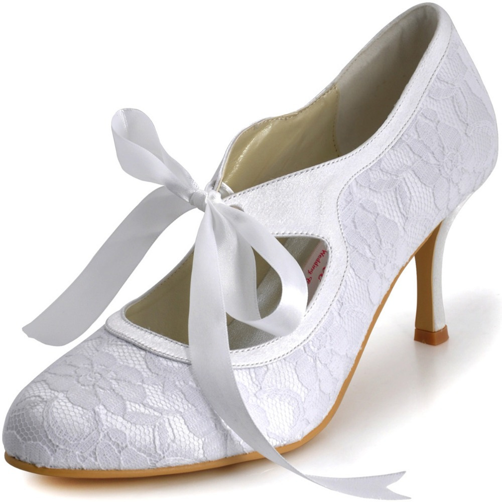A3039-3 White Ivory Champagne Bride Women Shoes Closed Toe Party Pumps Mary-Jane High Heel Lace Satin Wedding Bridal Shoes cut out pink satin ivory lace wedding peep toe kitten heel bridal shoes mary jane