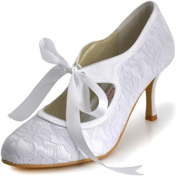 A3039-3 Blanco Marfil Champán Novia Mujeres Zapatos De Punta Cerrada Fiesta Bombas Mary-Jane Tacón Alto Encaje Satén Boda Nupcial Zapatos