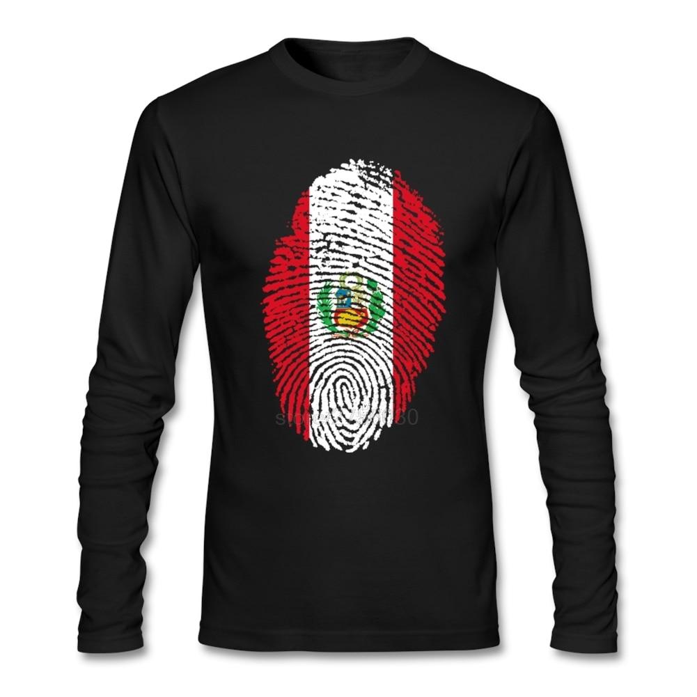 Stylish Peru Flag Fingerprint Tshirt For Men Promotion Men's O Neck Custom Cotton Long Sleeve Big Size Undershirt