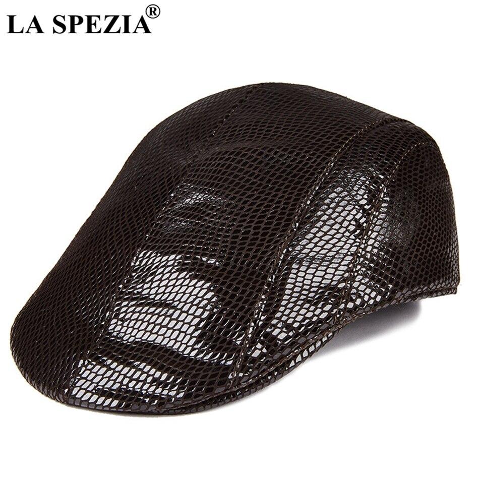 LA SPEZIA 2019 marca gorras planas Ivy hombres Boinas Marrones de cuero  genuino conductor sombrero hombre 5b20781d113