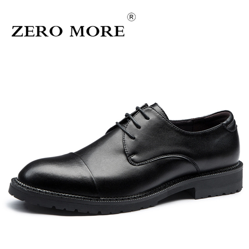 ZERO MORE Mens Shoes Casual Formal Carved Brogues Split Leather Shoes Men Lace Up Hot Sale Solid Dress Work Derby Shoes Black