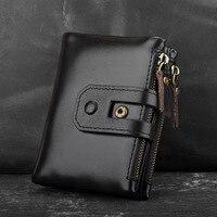 Factory direct men's anti RFID stealing brush casual retro Genuine Leather fashion men's coin purse Calfskin double zipper bag
