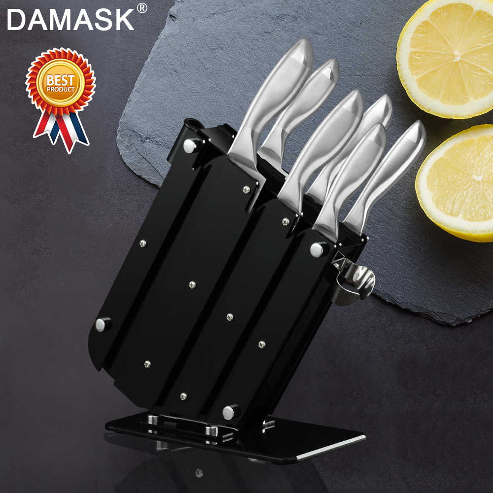 Damask Stainless Steel Knives Set Japanese Chef Stainless Steel Kitchen Knife With Knife Stand Holder Block Handle Meat Cleaver