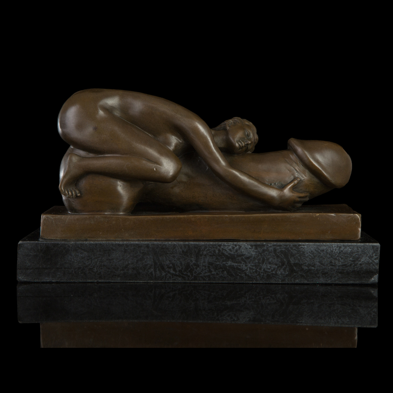 ATLIE BRONZES New Design Bronze Figurine Erotic  Nude Woman Hug Penis Sculpture  Sexy Lust Desire Girl Statue|women boo|women thread|women lace - title=