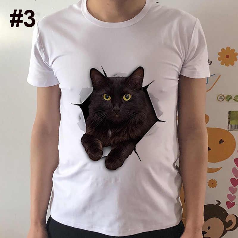 2017 Летняя мода 3D черная кошка футболка новейшая Мужская забавная Футболка с принтом животных топы хип-хоп Футболка Pstyle