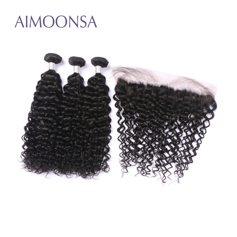 Deep Curly Human Hair Bundles with Frontal Brazilian Human Hair Weave Remy Hair Extensions Lace Frontal Natural Color