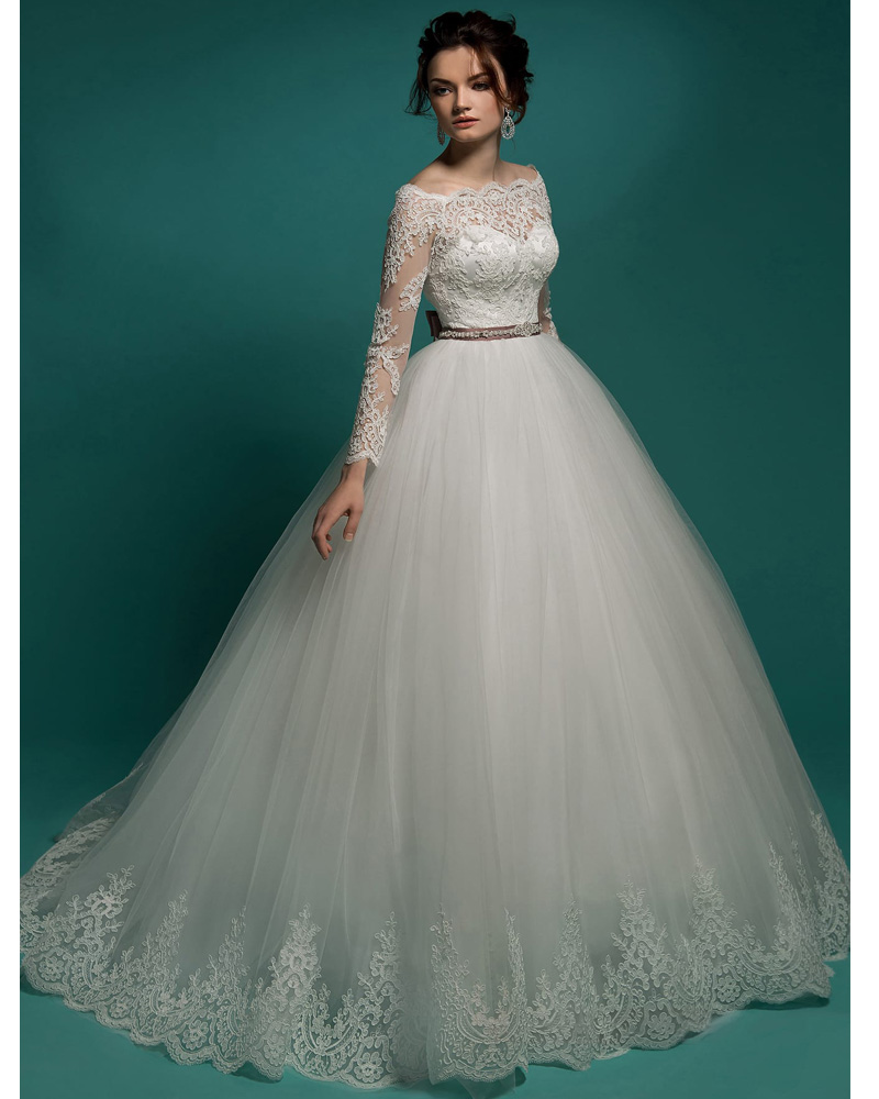 Bridal Gown Tulle Romantic Princess Vintage Lace Long Sleeve