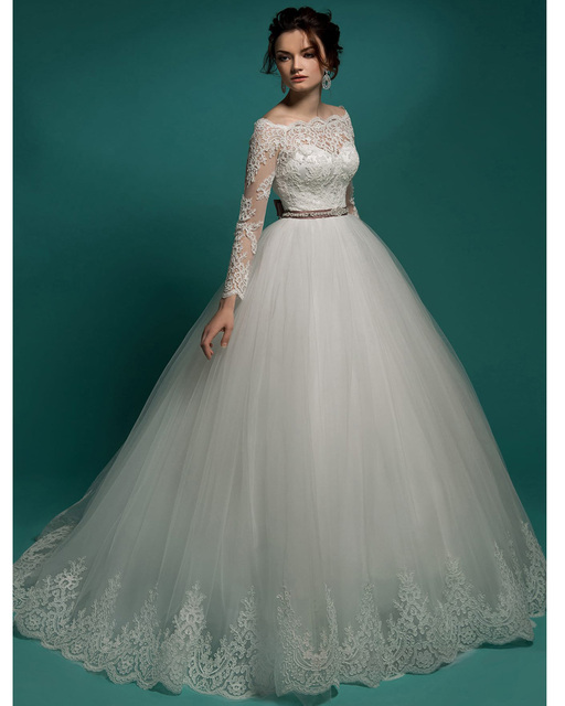 Bridal Gown Tulle Romantic Princess Vintage Lace Long Sleeve Wedding ...