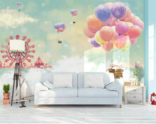 Beibehang Custom 3d wallpaper romantic Ferris wheel white clouds Cloud hot air balloon childrens room background wall