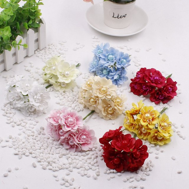 30pcs Lot Artificial Small Fabric Rosesilk Cherry Blossom Branches With Big Pearl Stamens