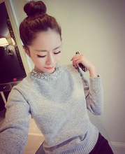 2016 Spring Autumn Winter Fashion Women Solid Hand-beaded O-neck Pullover Sweater Long Sleeve Short Knited Basic Top