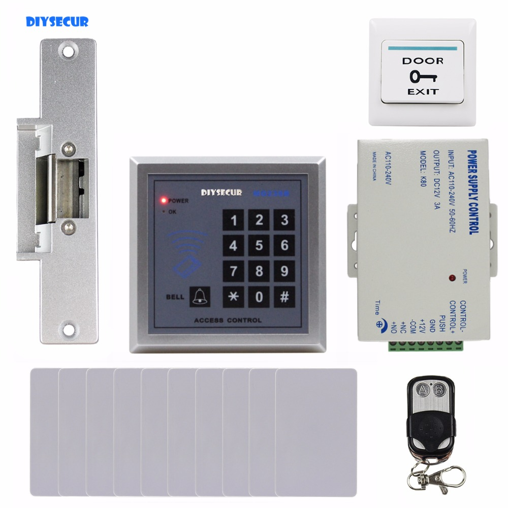 DIYSECUR 13.56 MHz IC Card Reader Keypad Access Control System Security Kit + Electric Strike Door Lock + Remote Control MG236B 13 56 mhz card reader ic door access control system with keypad waterproof built in antenna led speaker for home security f1763a