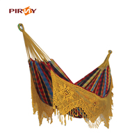 Love Free Adult Outdoor Swing Chair Pure Cotton Cloth Hammock With Tassel Pure Manual Increase Double Hammock Swing Bed