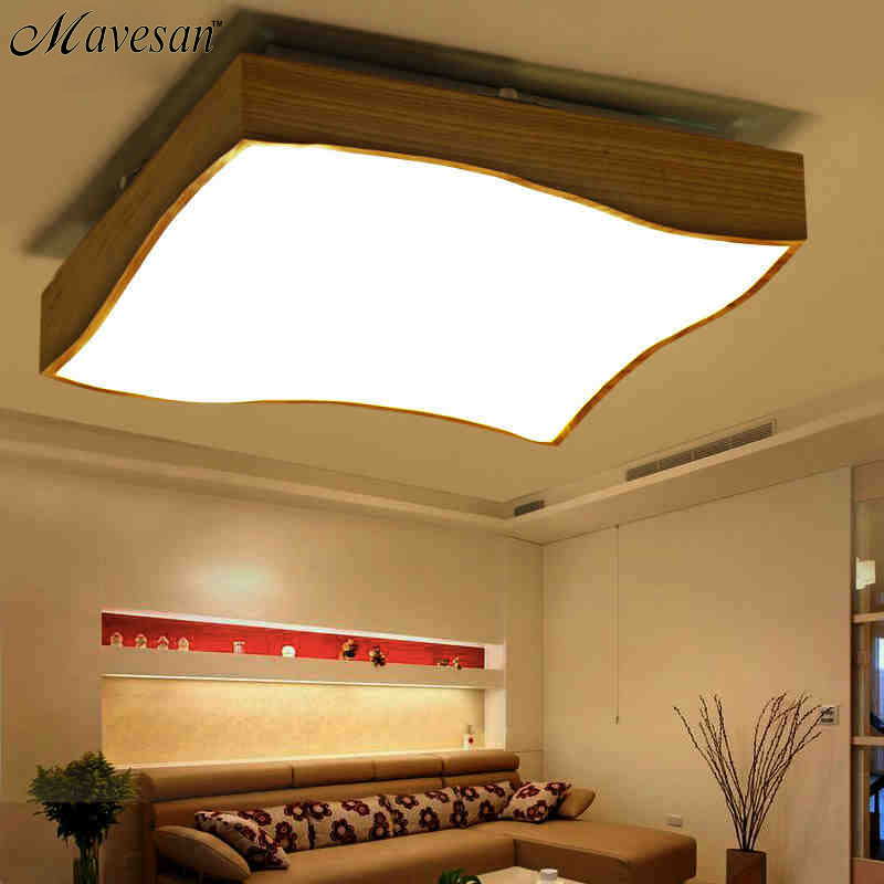 Art deco brief wood ceiling lights for bedroom luminaria for Ceiling lamp wood