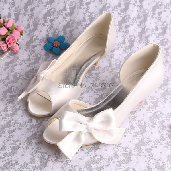 (20 Colors)Beige Satin Wedding Shoes Open Toe Low Heels With Big Bow Dropship