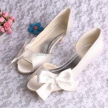 (20 Цветов) Бежевый Атласная Свадебные Туфли с Открытым Носком На Низком Каблуке С Большим Бантом Челнока
