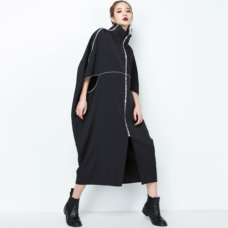 New 2019 fashion Classic zipper womens   trench   coats Top quality poncho style stylish women long overcoat