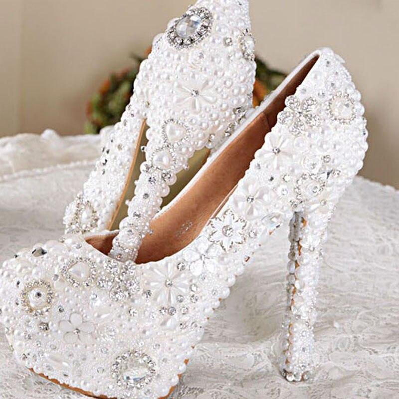 Haute Blanc Heels 14cm Fête Avec 11 Mariage Belle Talons Plus Parti 12cm Mariée Dame white Bal Couleur La White Heels Strass Chaussures Taille Perle De 10cm wwqx1rER