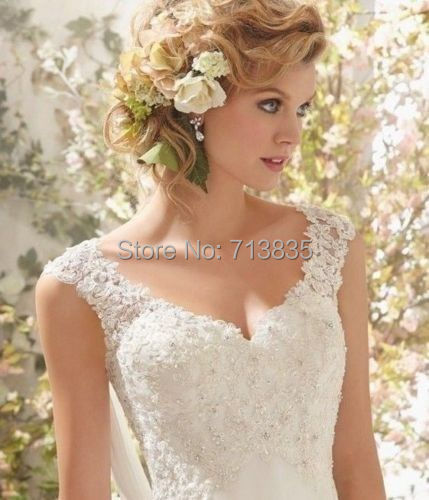 Entrega gratuita! barato 2015 vestido de novia una línea romántica ...
