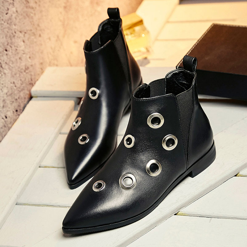 Ankle Boots Elastic Band Shoes Woman Quality Women Boots Genuine Leather Fashion Ladies Shoes Designer Pointed Toe Girls Boots elastic band women genuine leather ankle boots chelsea hand made shoes motorcycle coincise fashion black matte women s boots