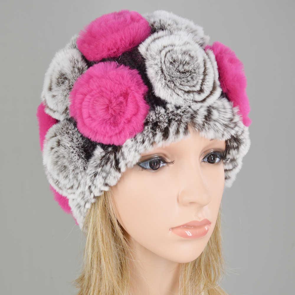 Bán buôn Và Bán Lẻ Cô Gái Bất Rex Rabbit Fur Mũ Hoa Mũ Mùa Đông Skullies Lông Thú Thật Dệt Kim Thỏ Beanies Phụ Nữ mũ