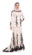 Free Shipping Hot Sales New Design Champagne Black Lace Islamic Formal Long Abaya Long Sleeve Muslim Clothing Evening Dress 2016