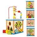 Детские Красочные Деревянные Мудрость Вокруг Бусины игрушка коробка форма соответствия часы обучения Образовательные Игрушки для Детей Kids