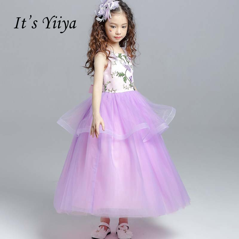 It's yiiya O-neck Beading Quality Zipper Bow Ruffles Kid Child Cloth Kid   Flower     Girl     Dresses   For Party Wedding   Girl     Dress   S096