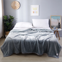 Flannel Coral Fleece Blanket Polyester Dark Gray Solid Color 4 Size Mink Throw Sofa Cover Plaid Sheet Soft Blankets On The Bed