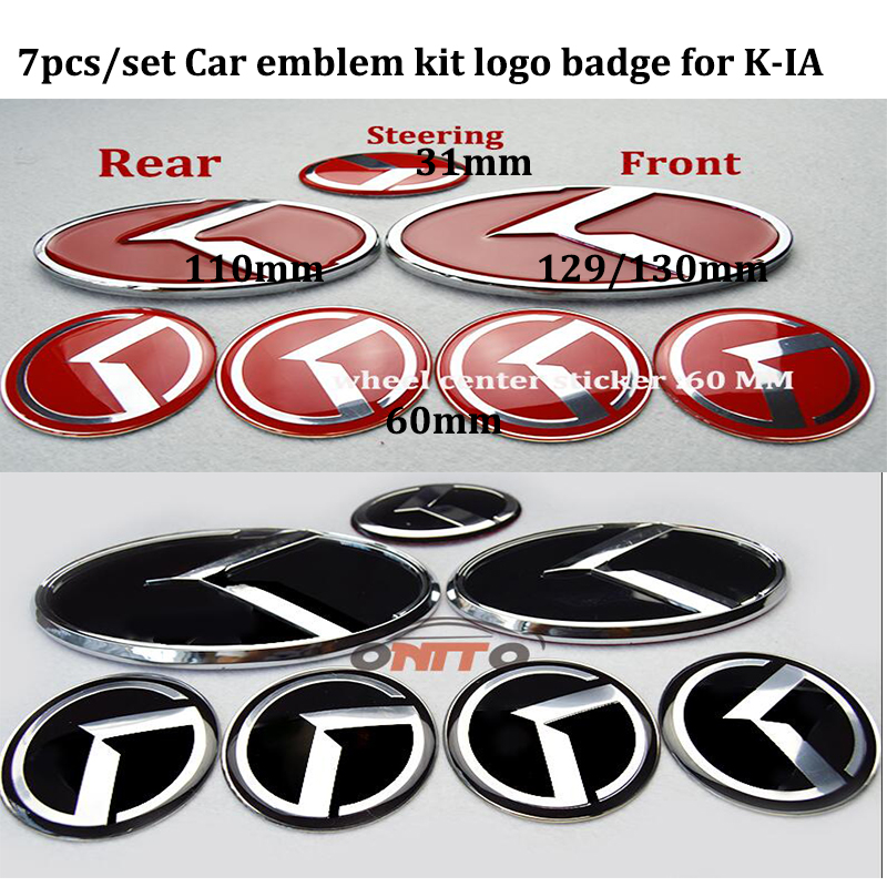 Für KIA OPTIMA K2/K3/K4/K5 Venga Sorento 7 teile/satz Auto Motorhaube boot abzeichen Emblem Felgen rad caps Auto Lenkrad aufkleber