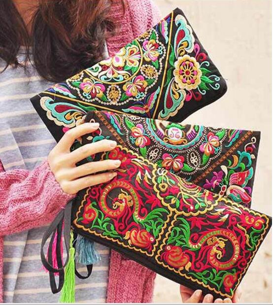 10 pieces Double Zipper Ethnic Boho Thailand Embroidered Women Wallets Canvas Long Wallet Floral Purse Logo
