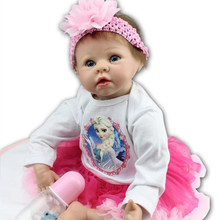 Silicone Reborn Baby Girl Dolls 22 Inch 55cm Realistic Lifelike Reborn Babies Kids Playmate Toys Brinquedos Cheap Reborn Babies