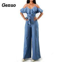 цены Women Elegant Spaghetti Strap Off Shoulder Denim Jumpsuit Jeans Ruffles Backless Casual Blue Jean Romper Loose Wide Leg Jumpsuit