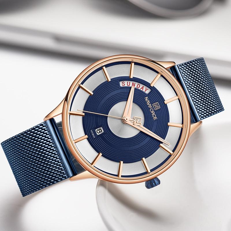 Image 3 - Naviforce relógios masculinos marca de luxo da forma dos homens  quartzo relógio de pulso aço malha cinta esporte masculino relogio  masculino 2019Relógios de quartzo
