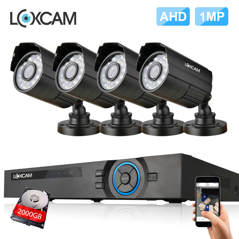 4Channel AHD HDMI 1080P DVR kit 4pcs 1.0MP 1200TVL Security camera System 720P outdoor waterproof camera video surveillance set