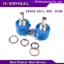 1PCS 3590S-2-501L 3590S 500 ohm 3590S-2-501 3590S-501 Precision Multiturn Potentiometer 10 Ring Adjustable Resistor