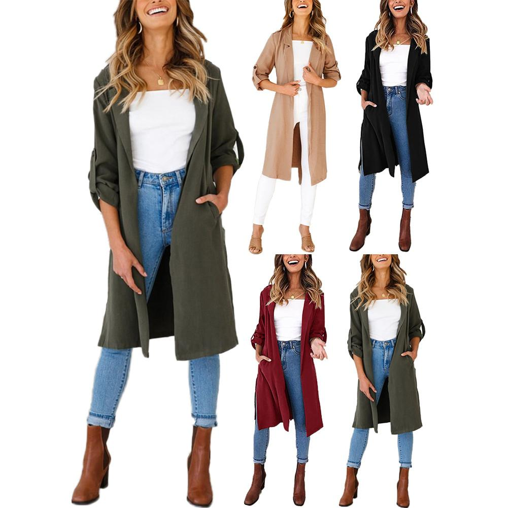 Autumn And Winter New Casual Long Windbreaker Coat Jacket For Women