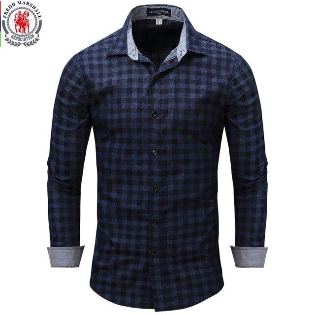 Новое поступление Для мужчин рубашка рубашки в клетку с длинным рукавом мужская одежда брендовая Повседневное деним Стиль проверки синий Рубашки для мальчиков 086