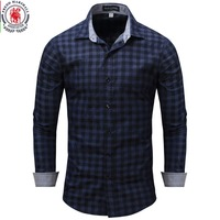 New Arrival Men S Shirt Long Sleeve Plaid Shirts Mens Dress Shirt Brand Casual Denim Style