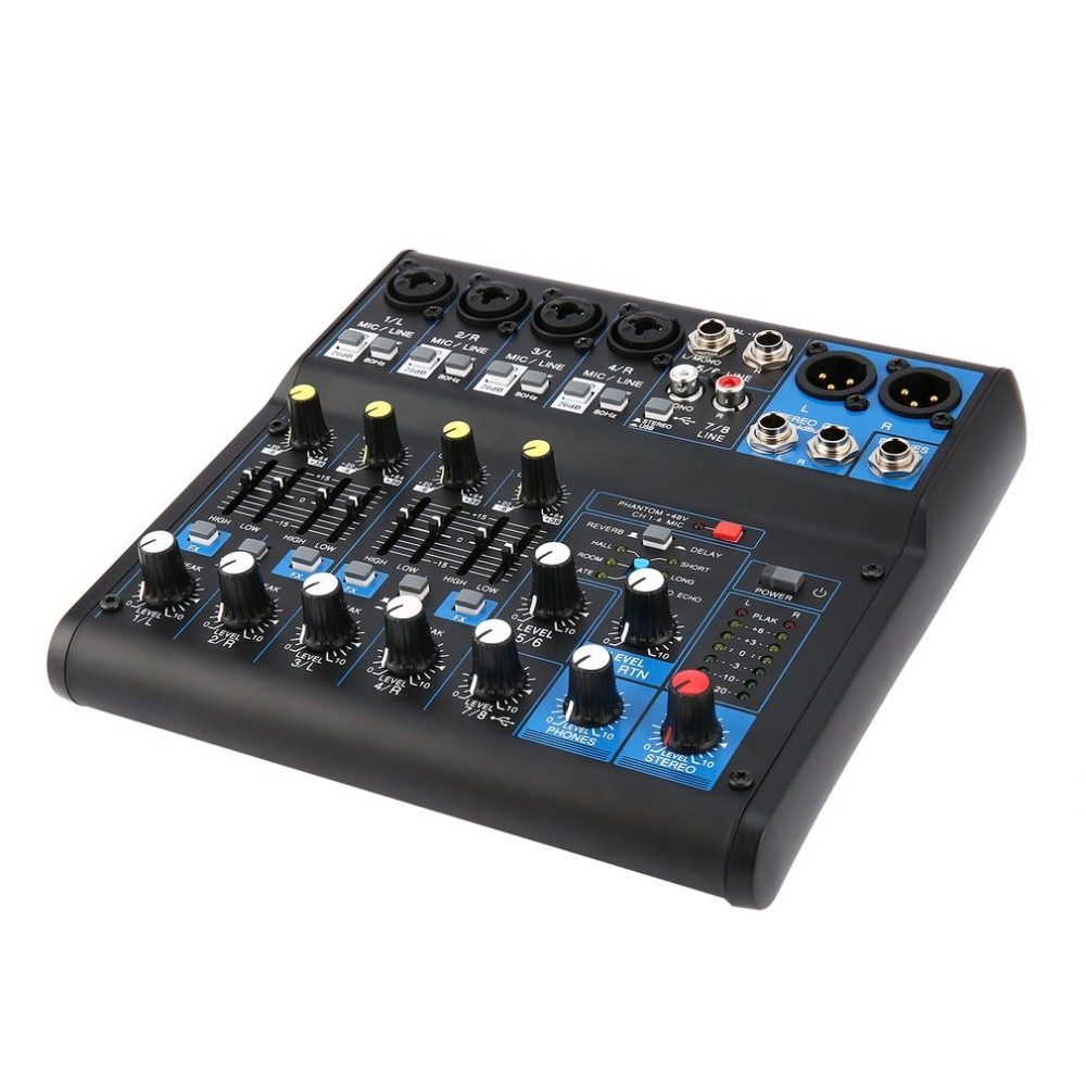Power Audio DJ Mixer AU Plug 8 Channel Professional Power Mixing Amplifier USB Slot 16DSP +48V Phantom Power for Microphones микрофон blue microphones yeti usb