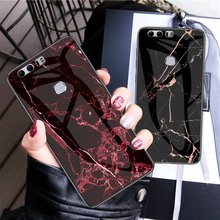 Haissky Case For Honor 8X 10 Lite 7C 8 8A 8C 8 Lite V9 9 Lite 10 Lite V10 V20 Enjoy 9 Play Luxury Marble Tempered Glass Case(China)