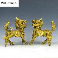 פליז ברונזה הסיני Fengshui Kylin Unicorn בעלי החיים חית Pixiu פסל זוג מתכת מלאכת יד קישוטים לבית