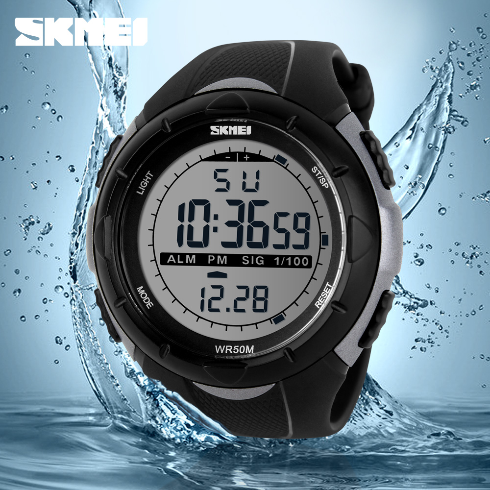New Skmei Brand Men LED Digital Military Watch Dive Swim Sports Watches Fashion Waterproof Outdoor Electronic Wrist Watches 1025