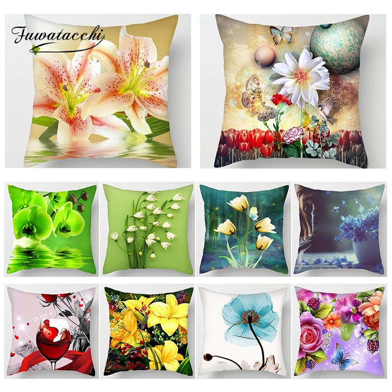 Fuwatacchi Rose Printed Pillow Cushion Cover Flower Leaf Pattern Decorative Pillow Case Sofa Seat Home Decor Cover Pillowcase