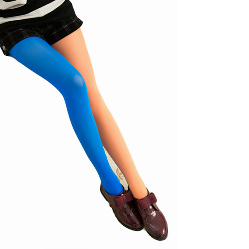2017 Fashion Spring Autumn Winter Tights Asymmetric Mixed Colors Stockings Thin Pantyhose Velvet AB Patchwork Tights for Girls