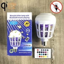 Wireless Bluetooth Speaker Bulb E27 Smart RGB RGBW Dimmable LED Music Player Audio Light Lamp with Mosquito Killer Trap Light