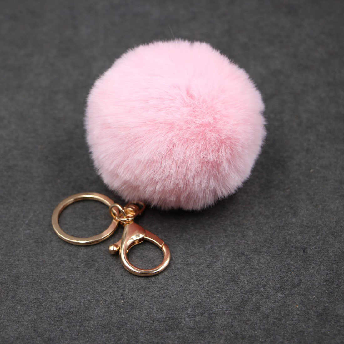 8CM 20 Colors Fluffy Rabbit Fur Ball Key Chain Cute Cream Black Pompom Artificial Rabbit Fur Keychain Women Car Bag Key Ring