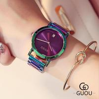 New GUOU Wrist Watches Fashion Colorful Stainelss Steel Watch Women Watches Luxury Women S Watches Clock