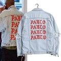 Kanye West Пабло Джинсовые Куртки Мужчины Жизнь Пабло kanye марка Одежды Уличной Джинсы Куртки Я Чувствую, Kanye 2 Цвет 796