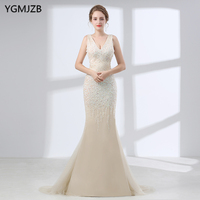 46ea44a8e7 Luxury Sexy Backless Mermaid Evening Dresses 2019 V Neck Beaded Crystal  Long Formal Prom Evening Gown